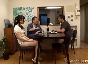 Asian mom swallows a hairy schlong like a pro POV
