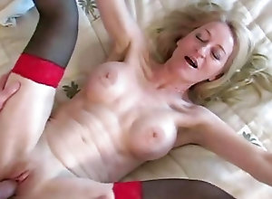 Enchanting blonde mature gets her burning asshole fucked very hard