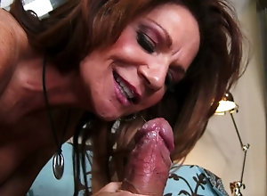 Busty mature chick Deauxma sucks and rides a big dick