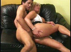 Big ass blonde mature cougar has steamy sex on sofa