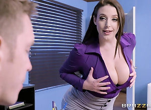 Seductive MILF Angela White only leaves her stockings while fucking